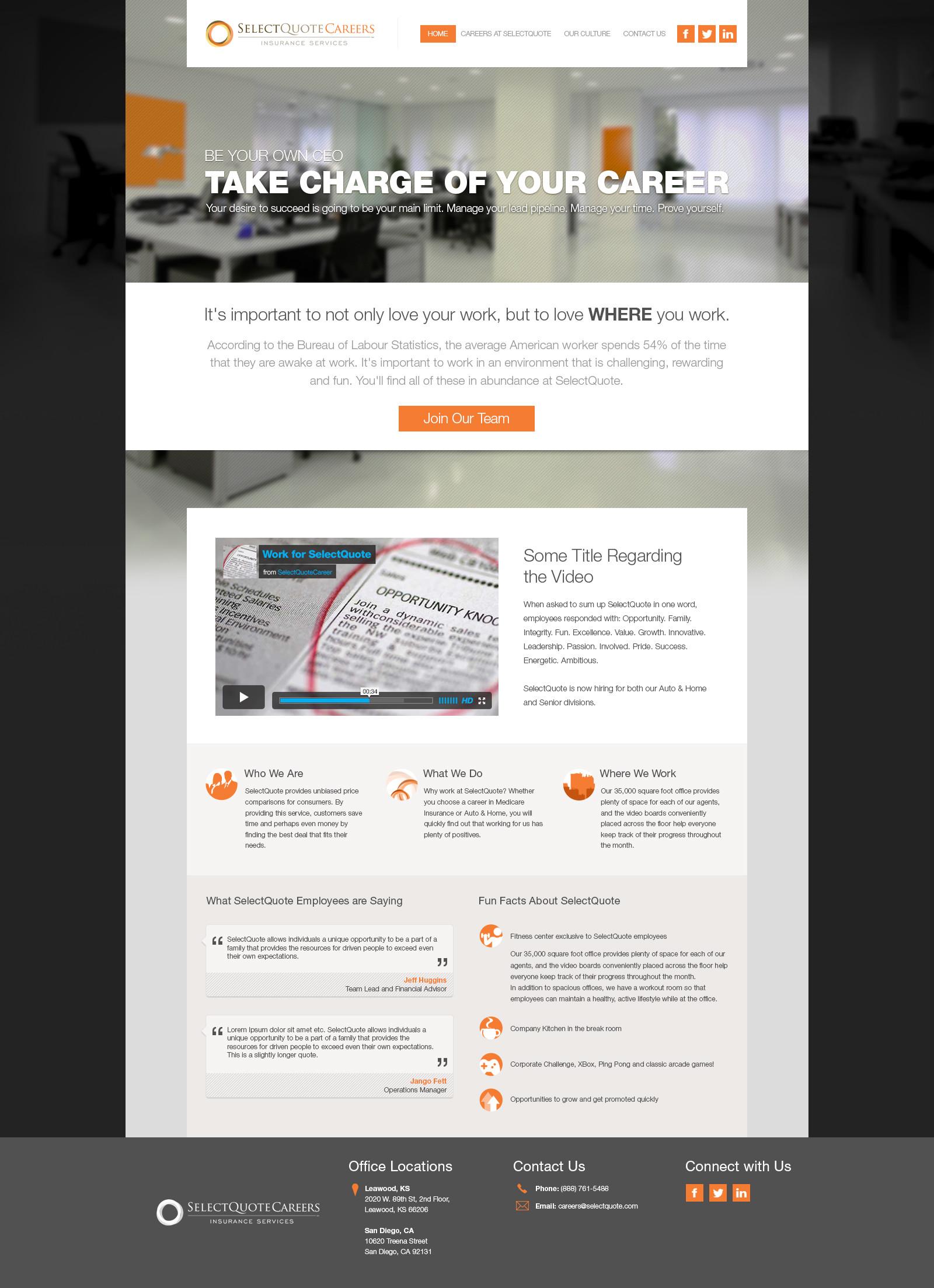 SelectQuoteCareers Homepage 3b