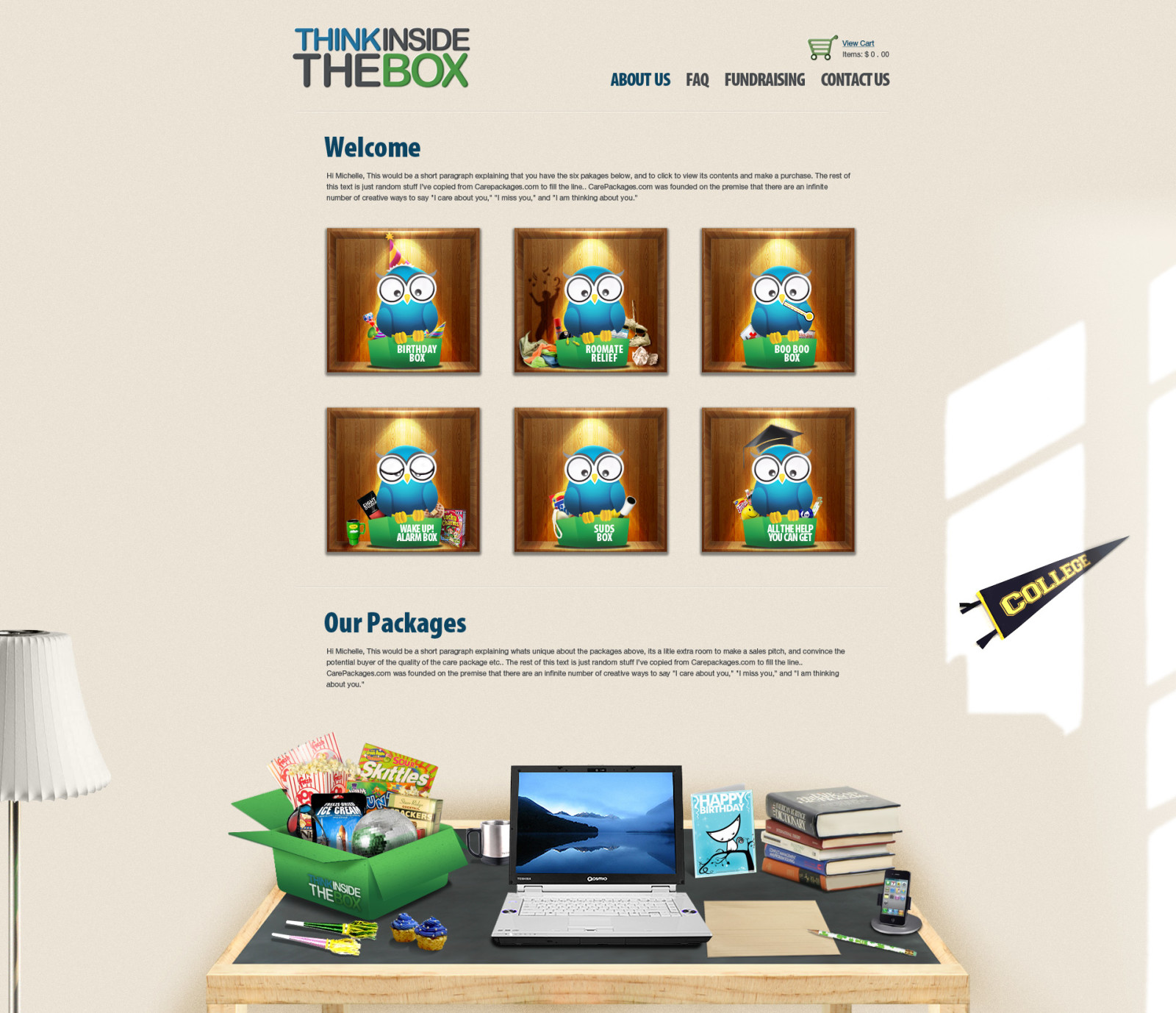 ThinkInsideTheBox - Home page (NARROW TABLE)
